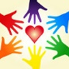Hands in the colors of the rainbow reaching towards a red heart
